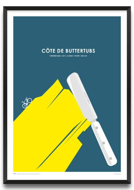Cote de Buttertubs, Tour de Yorkshire cycling screenprint by Dave Holloway, Prints for Charity