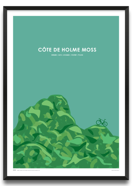 Cote de Holme Moss, Tour de Yorkshire cycling screenprint by Dave Holloway, Prints for Charity