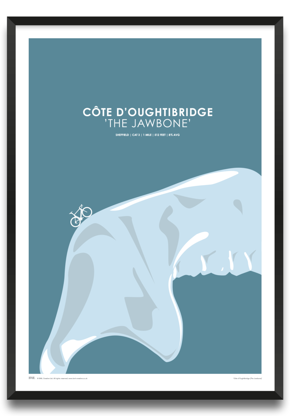 Cote d'Oughtibridge - The Jawbone, cycling screenprint by Dave Holloway, Prints for Charity