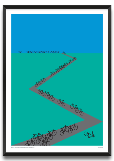 The Long Climb, cycling screenprint by Natalie Holloway, Prints for Charity