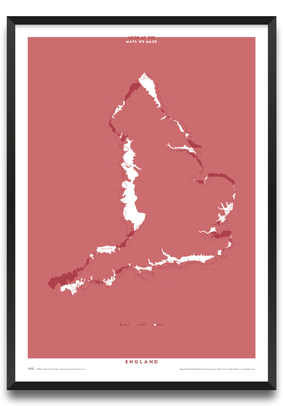 Maps We Made (England) framed print by James Lodge, Prints for Charity