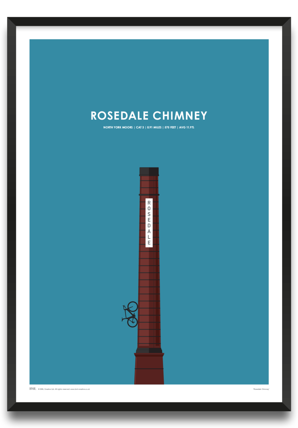 Rosedale Chimney, cycling screenprint by Dave Holloway, Prints for Charity