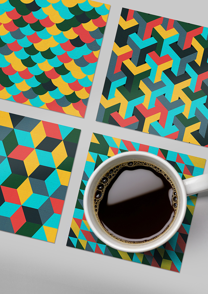 BML lenticular printed geometric drinks coasters - set of 4