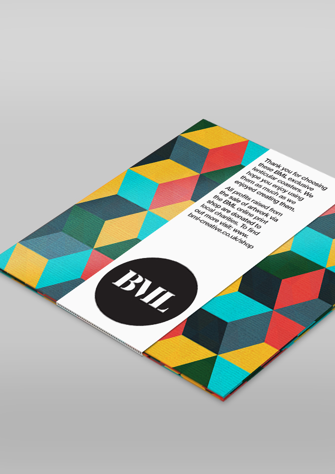 BML lenticular printed geometric drinks coasters - packaged set as supplied