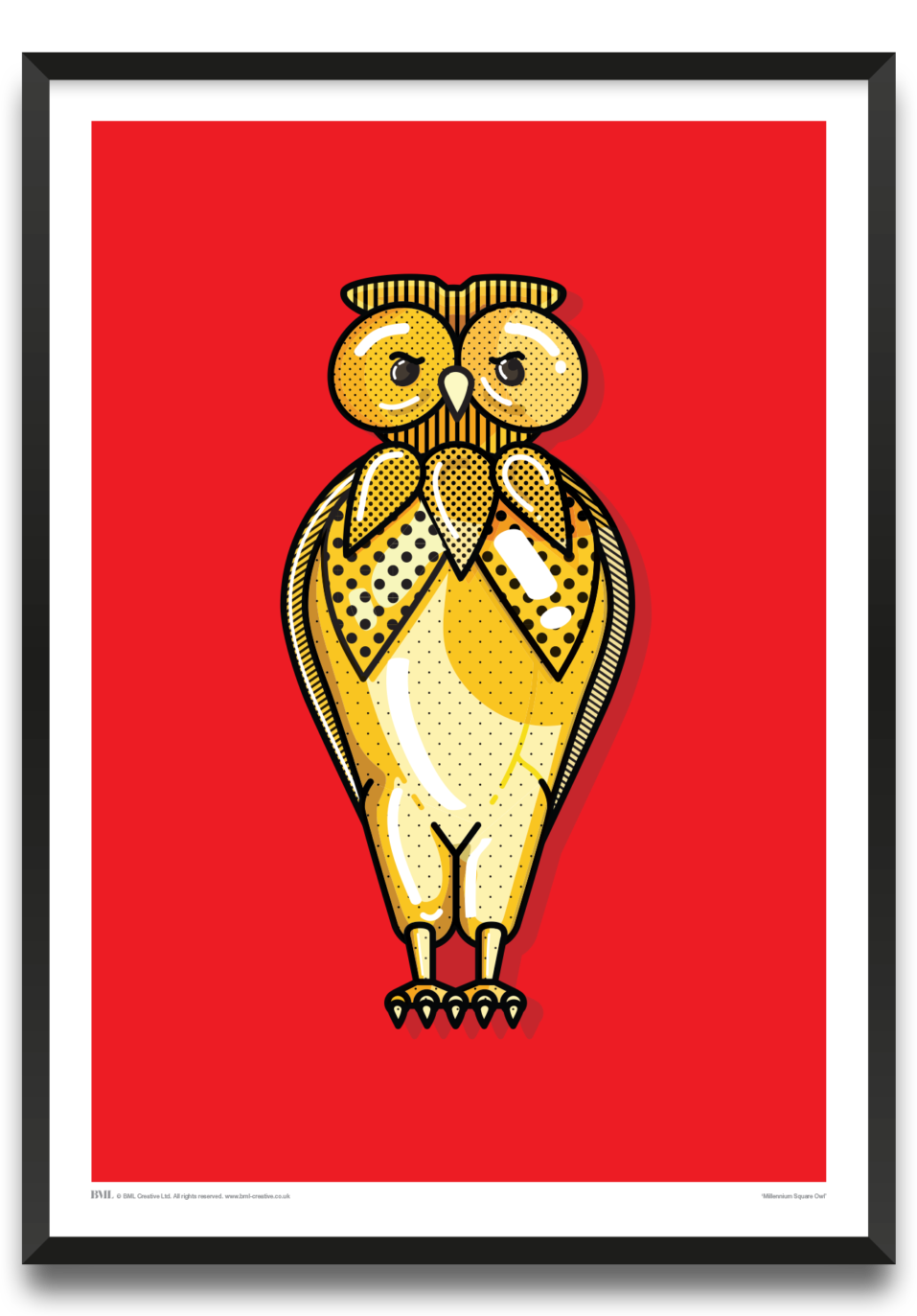 Millennium Square Owl, Leeds, bird art print by Andy Kay, Prints for Charity
