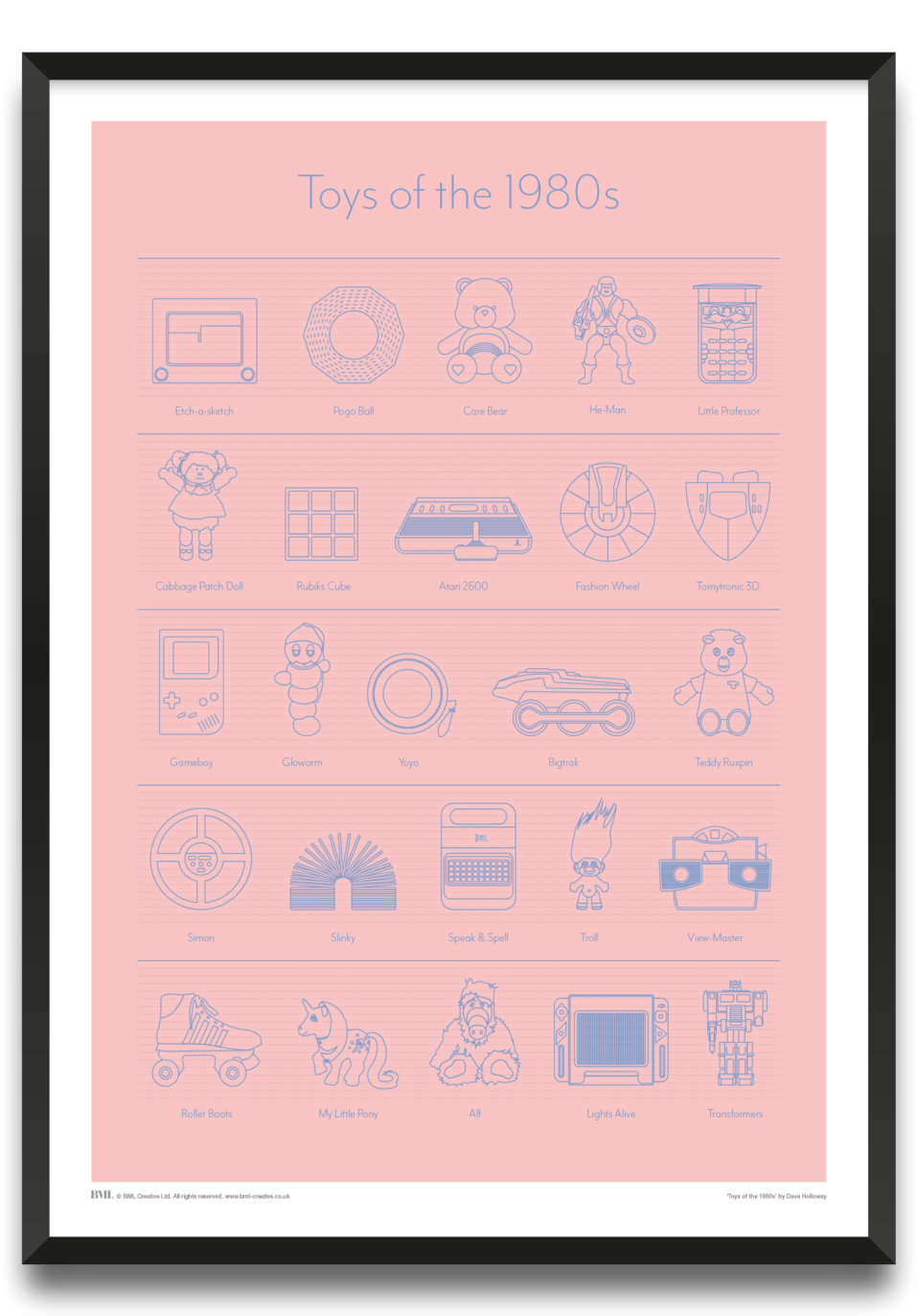 Toys of the 1908s, icon screenprint by Dave Holloway, Prints for Charity