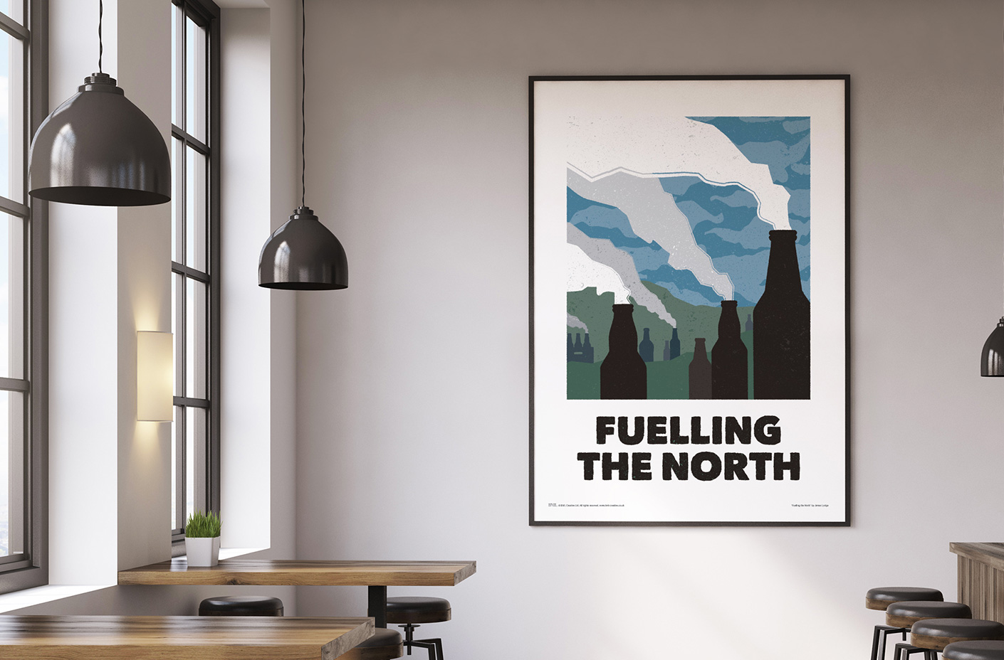 fuelling the north beer poster art print - roomset