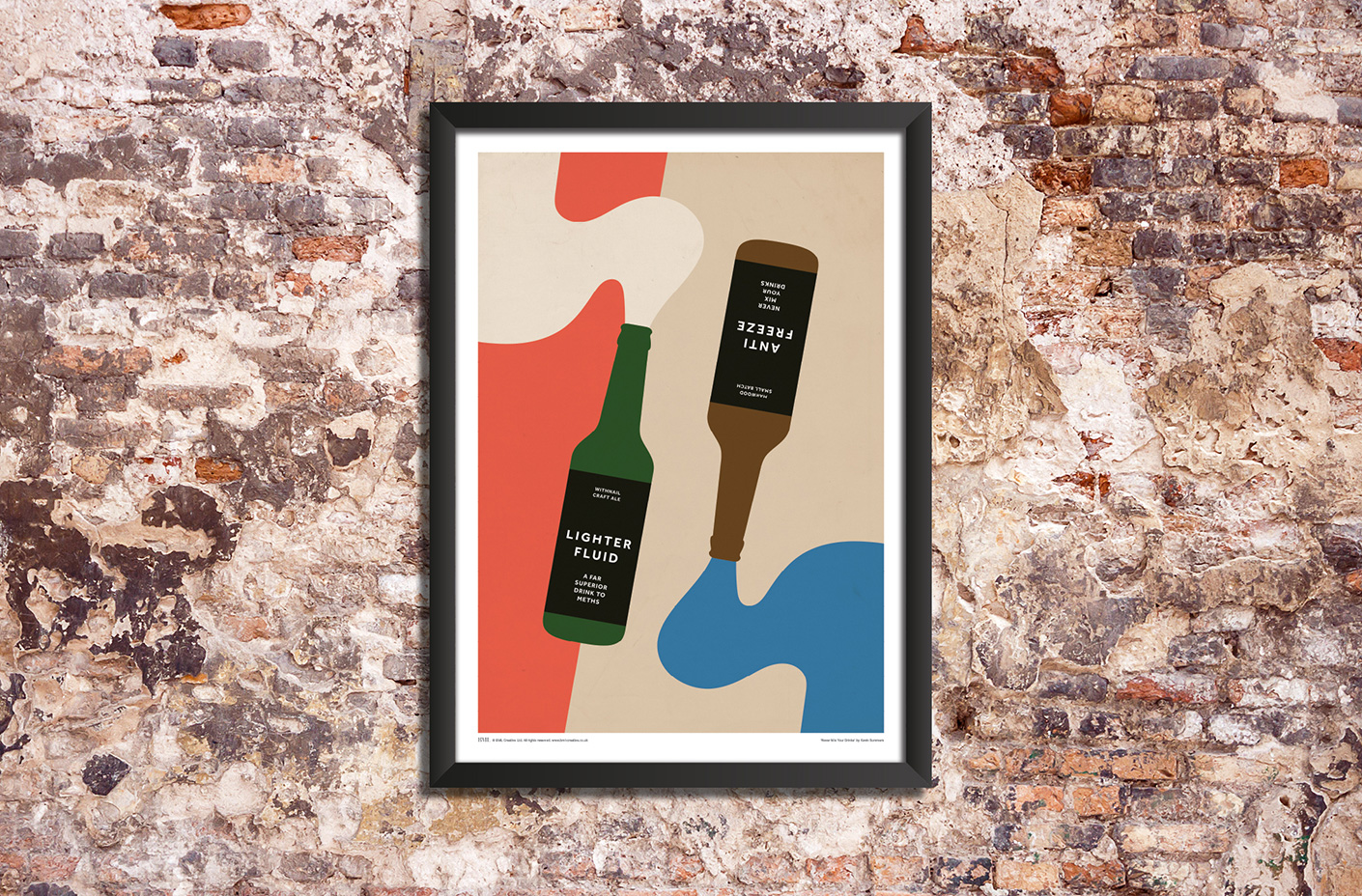 never mix your drinks withnail and i beer poster art print - roomset