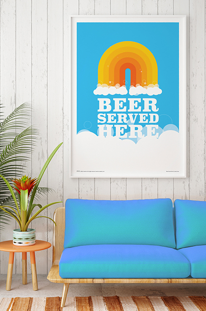 beer served here poster art print - roomset