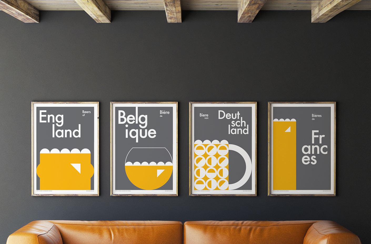 beers of europe poster art print series - roomset
