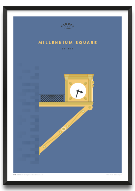 Millennium Square, clocks of Leeds art print by BML, Prints For Charity