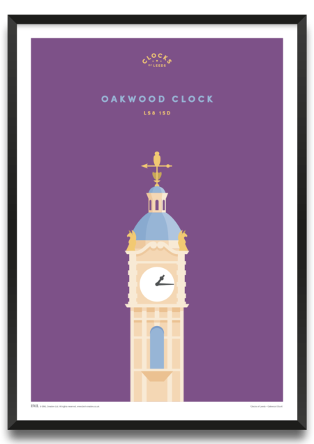 Oakwood Clock, Clocks of Leeds art print by BML, Prints For Charity