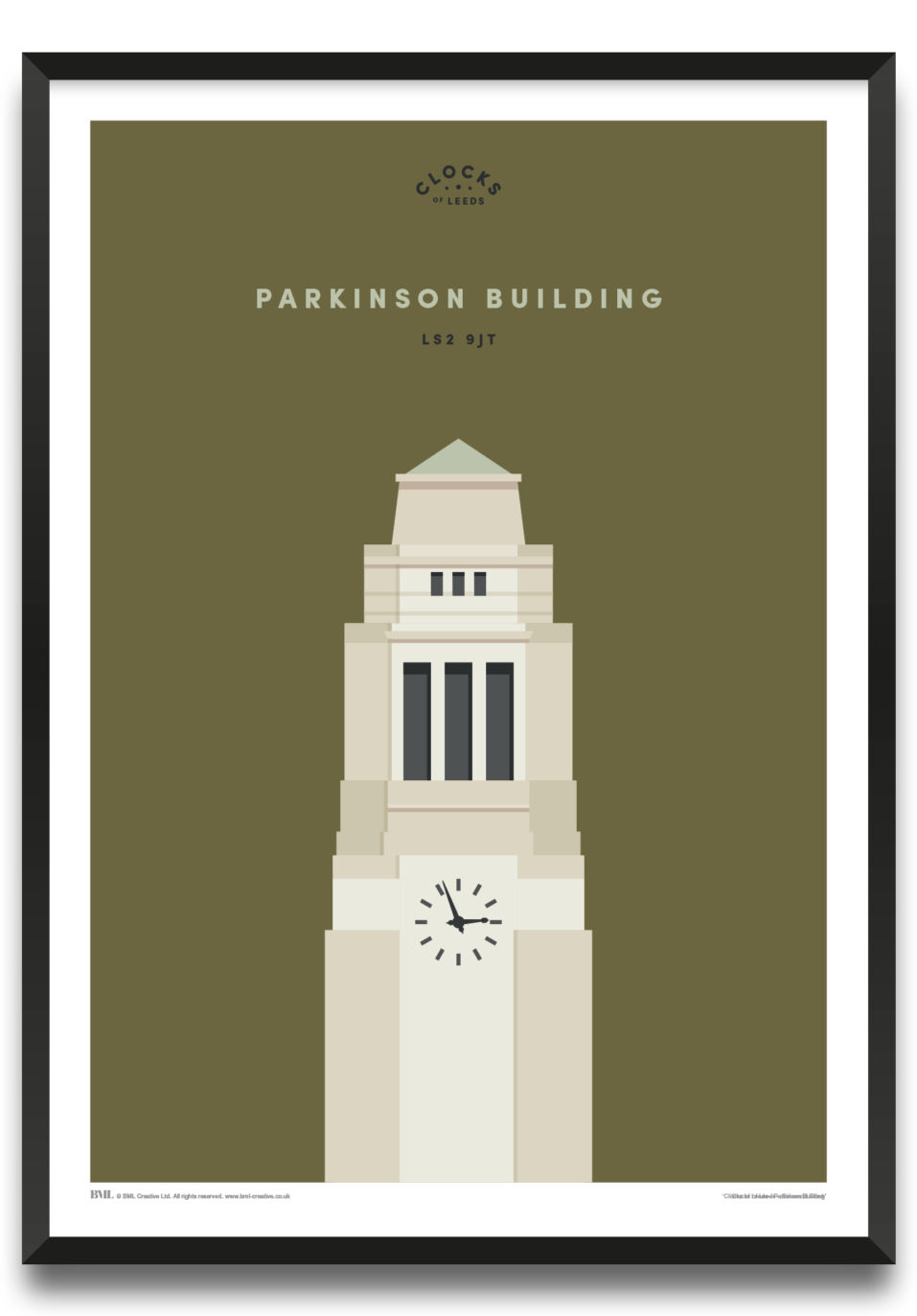 Parkinson Building at Leeds University, clocks of Leeds art print by Prints For Charity