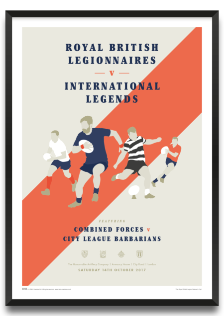 Royal British LEgion Veterans Cup, Rugby Match, art print by BML, Prints For Charity