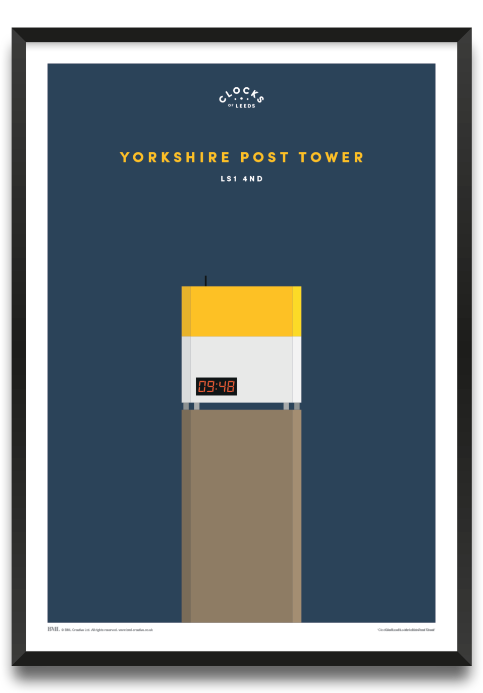 Yorkshire Post Tower, clocks of Leeds art print by Prints For Charity