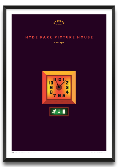 Hyde Park Picture House, clocks of Leeds art print by BML, Prints For Charity
