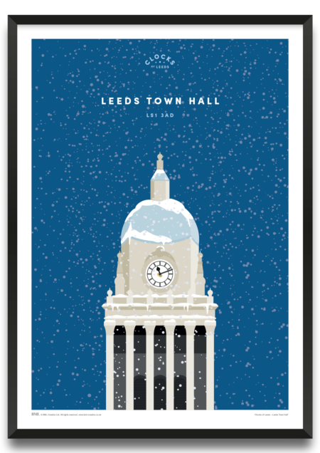 Leeds Town Hall in winter, clocks of Leeds art print by BML, Prints For Charity