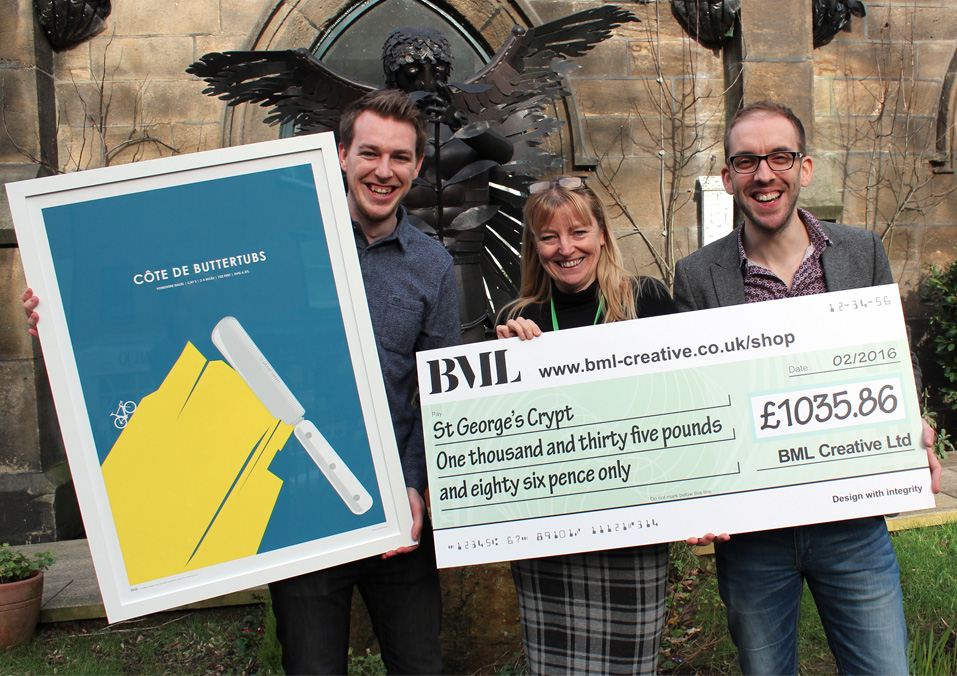 BML Creative making a donation to St. George's Crypt in 2016